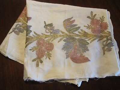 Beautiful Vintage Antique Metallic Embroidery Fabric Remnant Textile Runner