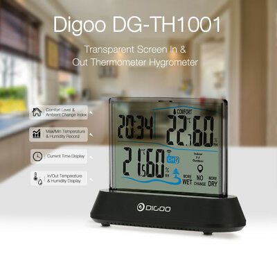Digoo DG-TH1001 Wireless Transparent Screen In&Outdoor Hygrometer Thermometer