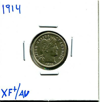 1914 10C Barber Dime in XF/AU Condition