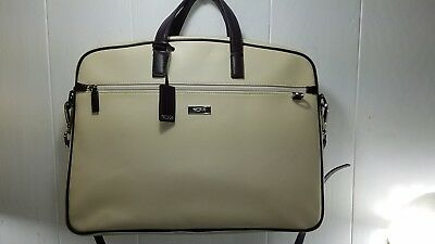 Tumi Women Ivory or Beige or Cream Leather Laptop Briefcase Xbody Shoulder Bag
