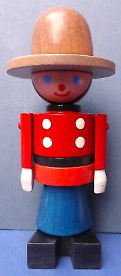 Charming Vintage Wooden Canadian Mountie Stacking Toy 1980s