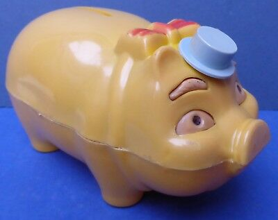 Charming Vintage Tudor Rose Piggy Bank with Moving Hat 1950s/60s Money Box