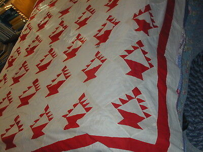 Antique Quilt Top~Red&White Flower Basket ~Very Early American Handwork~Holes