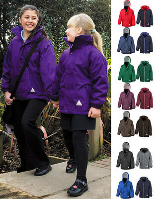 Result Girls Kids Hooded Fully Waterproof Reversible Jacket with Fleece Inner