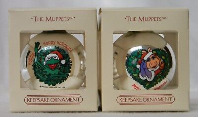 Vintage Hallmark Muppets 2 glass Christmas ornaments Kermit & Miss Piggy 1984