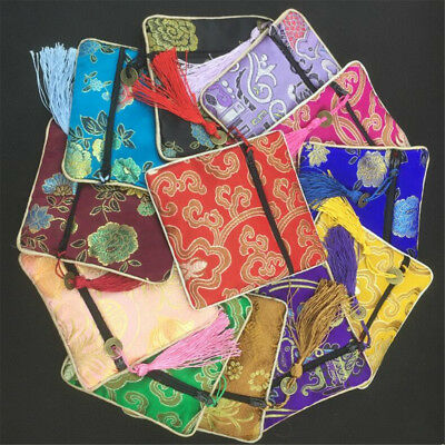 1~5pcs Chinese Silk Zipper Tassel  Square Jewelry Pouches Gift Coin Purse Bag