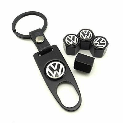 iDoood Set of 4 Car Tire Valve Stem Air Caps Cover + Keychain Black