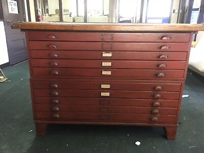 Antique Oak Flat File, Map & Blueprint Cabinet