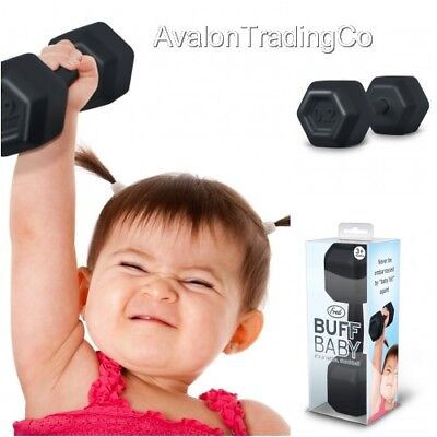Fred Buff Baby Dumbbell Shaped Rattle Black Novelty Fun Great Xmas Prezzie