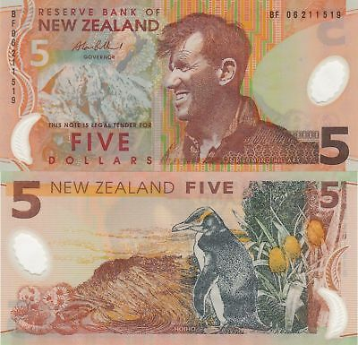 New Zealand 5 Dollars (2006) - Penguin/Edmund Hillary/p185b UNC
