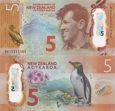 New Zealand 5 Dollars (2015) - Penguin/Edmund Hillary/p191