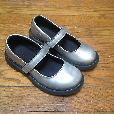 Dr DocMartens Silver Tully Leather Mary JaneKids Size 13Girls Shoes