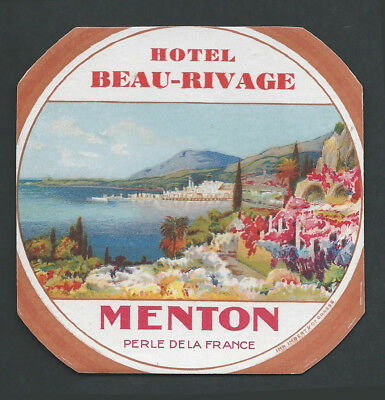 Hiotel Beau Rivage MENTON France - vintage luggage label