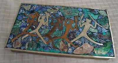 Vintage Mexican Box Mixed Metals Stone Brass and Exotic Wood