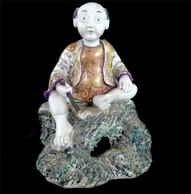 Antique Porcelain Figure Of Seated Man Chinese Japanese Buddha Hand Painted