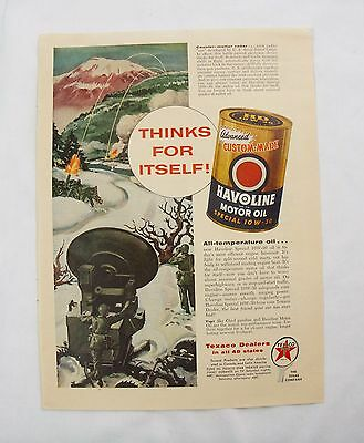 vintage Texaco Havoline motor oil print Ad army bombing Wizard appliance