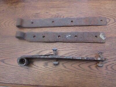 3 hand forged Wrought Iron door straps Hinges, 19th Century