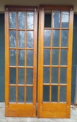 Matched Pair Interior Antique Oak French Doors With 15 Panes Glass