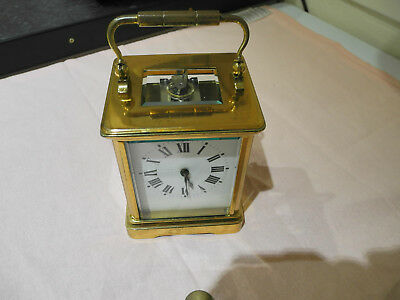Antique French Brass Carriage Clock - Perfect Working Order - Complete With Key