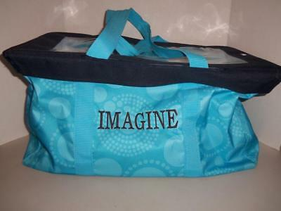 Thirty One Large Utility Tote Bag & Top Lid Aqua Circles Spirals Blue -1217T13