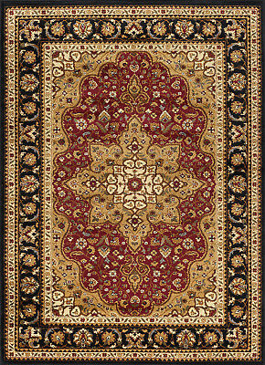 Traditional Oriental Medallion Black Red Area Rug Free Shipping