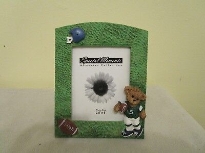 Polystone Sports Bear Photo Frame 3.5X5 With Teddy Bear And Football Logos New