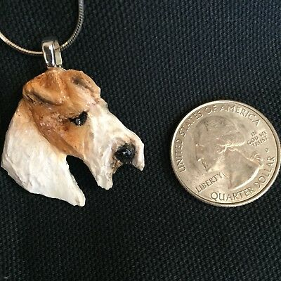 Fox  Terrier Hand Scupted Pendant With Silver Chain Necklace