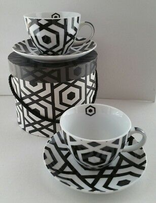 2 PPD Black & White NEW Coffee Espresso Cup & Saucer Sets w/ Gift Box ~ Germany