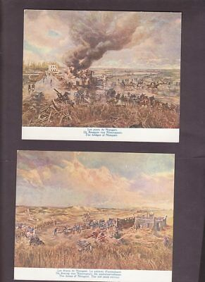 4 postcards Panorama WWI Battle Scenes of Yser 1914 Belgium issue by Bastien