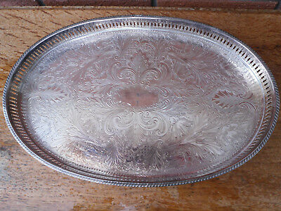Vintage ornate silver plated Gallery chased Oval drinks Tea tray Sheffield