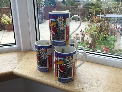 "4 Dunoon mugs all with ""THANK YOU"" bone china made in Sctland Jane Hayes NEW"