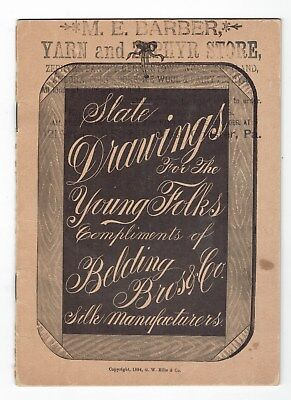 SEWING Old BELDING SILKS Victorian Trade Card Booklet 16 Pages SLATE DRAWINGS