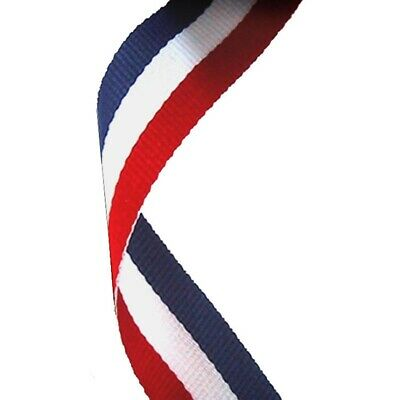 100 x Red, White And Blue Medal Ribbons Lanyards with Gold clips 22mm wide