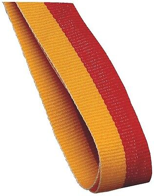 100 x red and yellow Medal Ribbons Lanyards with Gold clips 22mm wide