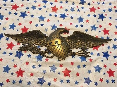 "Large 20"" Wide Brass American Bald Eagle with Shield/Arrows Wall Plaque"