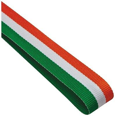 100x Red White And Green Medal ribbons / lanyards with Gold clip 22mm wide