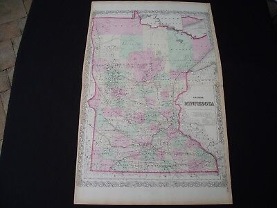 1867 Colton Atlas Map Minnesota Rare Large Size 150 Yr Old Antique Genuine