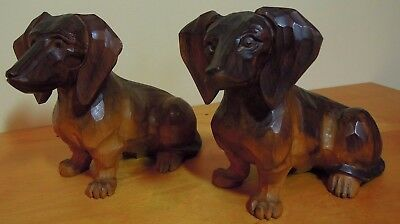 "2 Matching Wooden Hand Carved Dog Statues. 5.5"" tall"