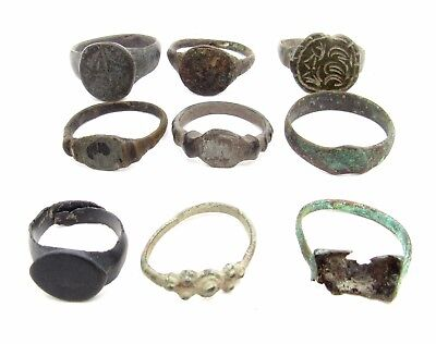 Lot Of 9 Roman / Medieval Bronze Rings For Cleaning - Wearable Superb - P737