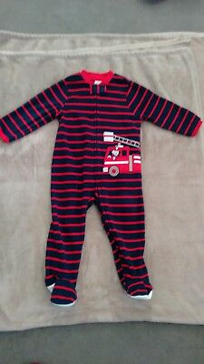 baby boys fleece babygrow sleepsuit navy blue stripey fire engine 18 months nwot