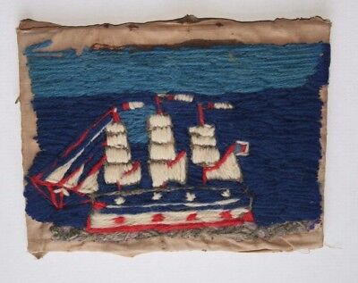 Antique woolwork picture of a three masted ship 19th century Sailors folk art
