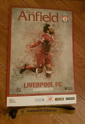 Liverpool v Everton programme brand new with team sheet/wristband 10.12.2017