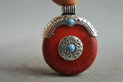 Collection Handwork Turquoise Armor Miao Silver Carve Character Lucky Pendant