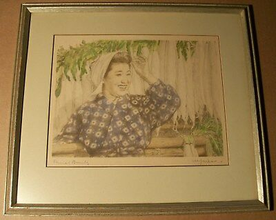 """WILLY SEILER PENCIL SIGNED #2 JAPANESE MODERNIST COLORED ETCHING PRINT 12""""x9"""" NR"""