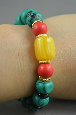 Collection Handwork Decorative Turquoise Carve Colorful Bead Auspicious Bracelet