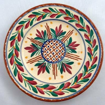 Vtg HB Quimper Faience Plate Floral Leaves Geometric French 176