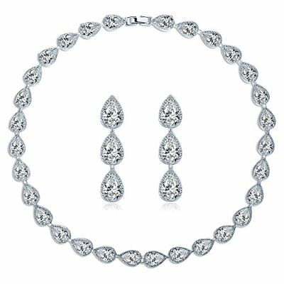 MASOP Water Drop Crystal Statement Choker Necklace Earrings Sets for Women We...