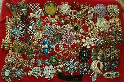 HUGE Job Lot Of 75 Vintage/Antique Rhinestone Pins Brooches Crafts/Repair 2.85lb