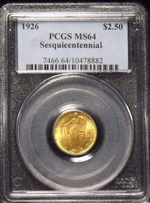 1926 2 1/2 Dollar Sesquicentennial Gold Coin Certified PCGS MS 64
