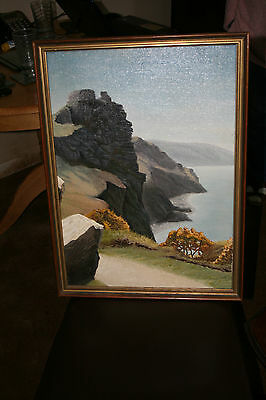 VINTAGE LANDSCAPE VALLEY OF THE ROCKS - ORIGINAL OIL PAINTING on CANVAS BOARD